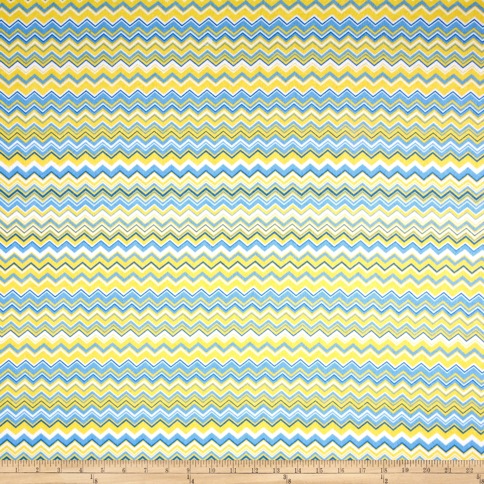 Chevron Flannel Yellow/Blue Fabric
