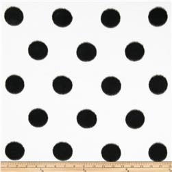 Fleece Print Large Polka Dots White