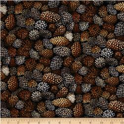Autumn Romance Pine Cones Brown