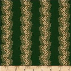 Spirit of Christmas Medium Floral Stripe Green Khaki