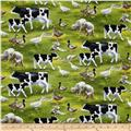 Spring Ahead Animals Allover Green