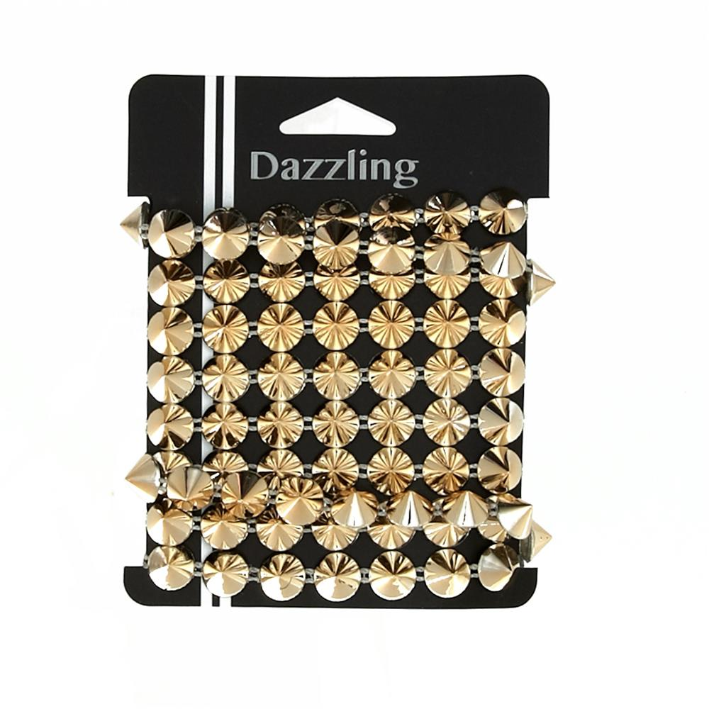 Metal Stud Spike Trim Gold