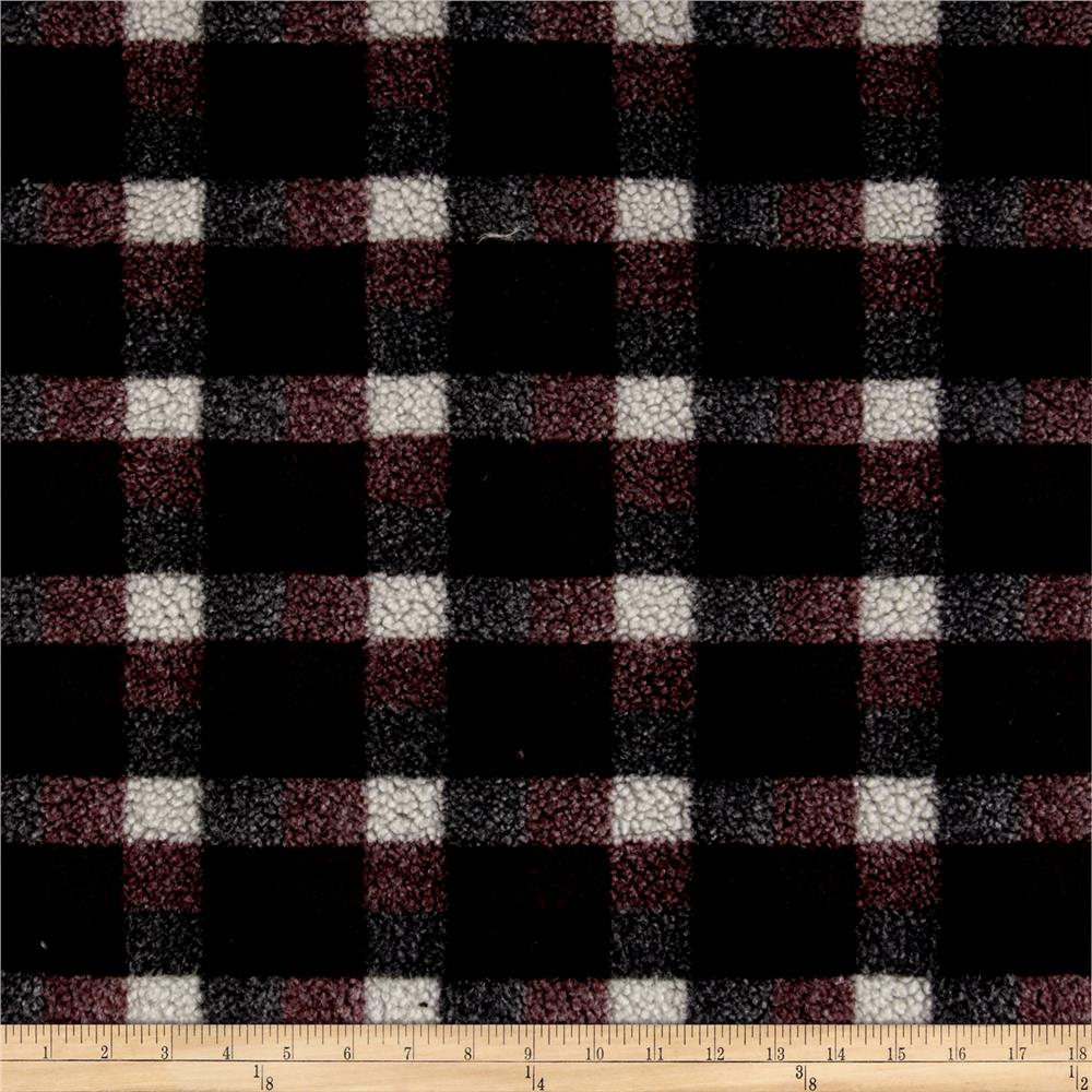 Shannon Berber Check Fleece Burgundy