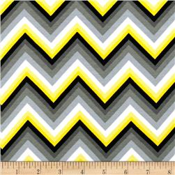 Kaufman Laguna Stretch Jersey Knit Chevron Yellow Fabric