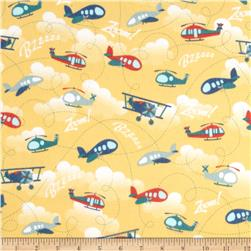 Riley Blake Fly Aweigh Flannel Planes Yellow Fabric