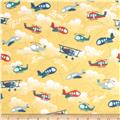 Riley Blake Fly Aweigh Flannel Planes Yellow