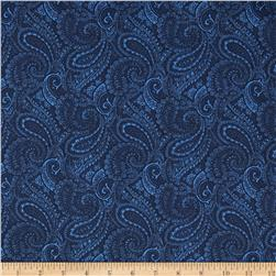 108'' Complementary Quilt Backing Paisley Blue