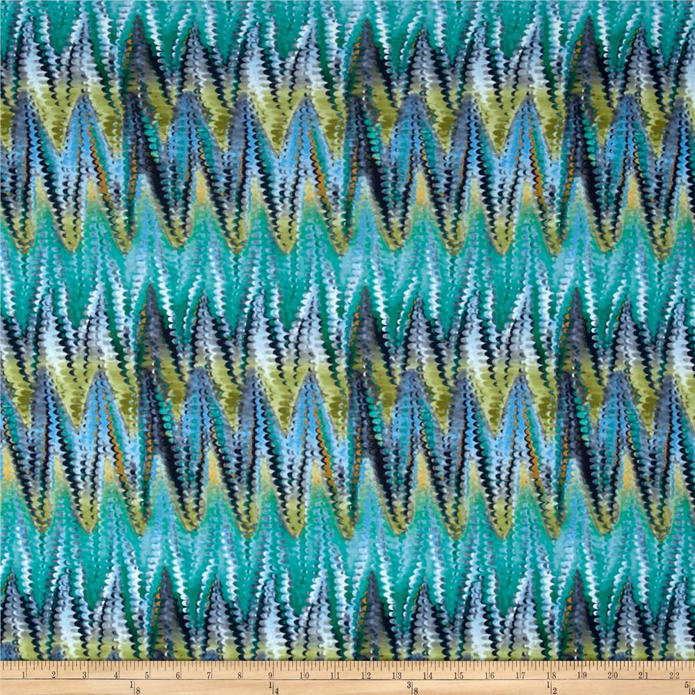 Stretch Poly Spandex Jersey Knit Chevron Snake Print Turquoise/Green Fabric