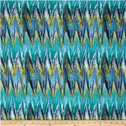 Stretch Poly Spandex Jersey Knit Chevron Snake Print Turquoise/Green