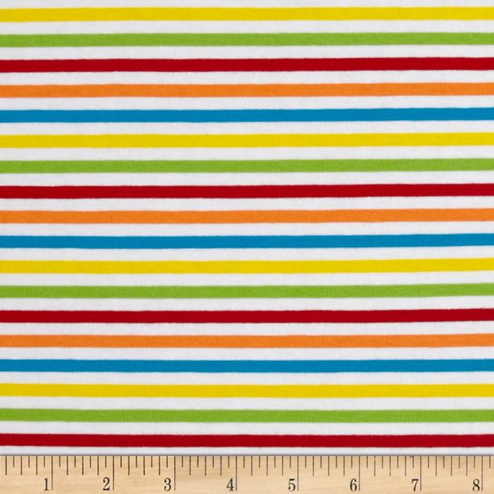 Rainbow Stripe Stretch Cotton Jersey Knit