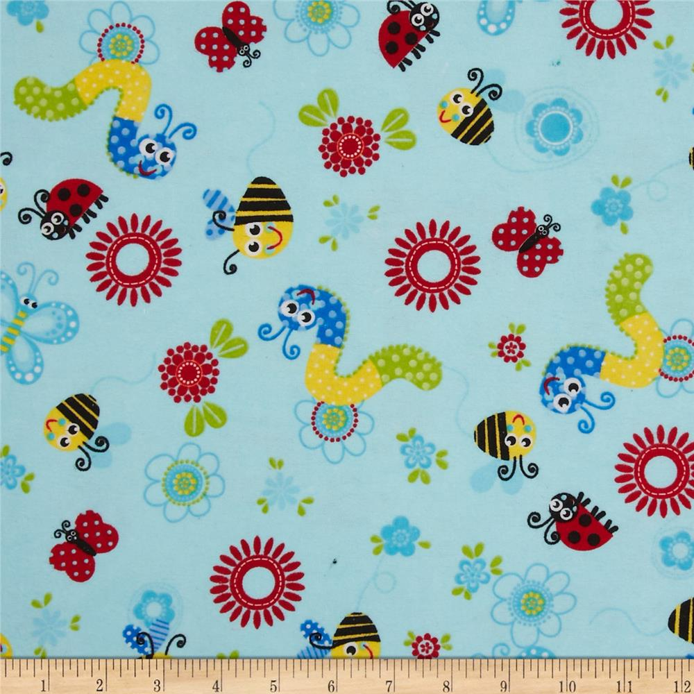 Flannel Tossed Bugs Blue