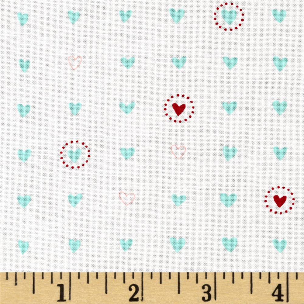 Moda Lil' Red Sweet Hearts Turquoise/ Cloud