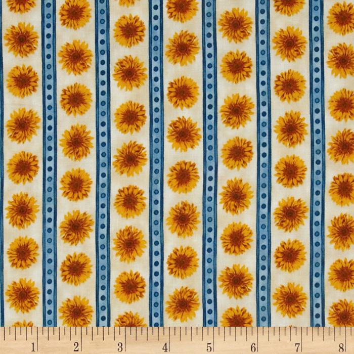 Sunny Day Sunflower Stripe Country Blue