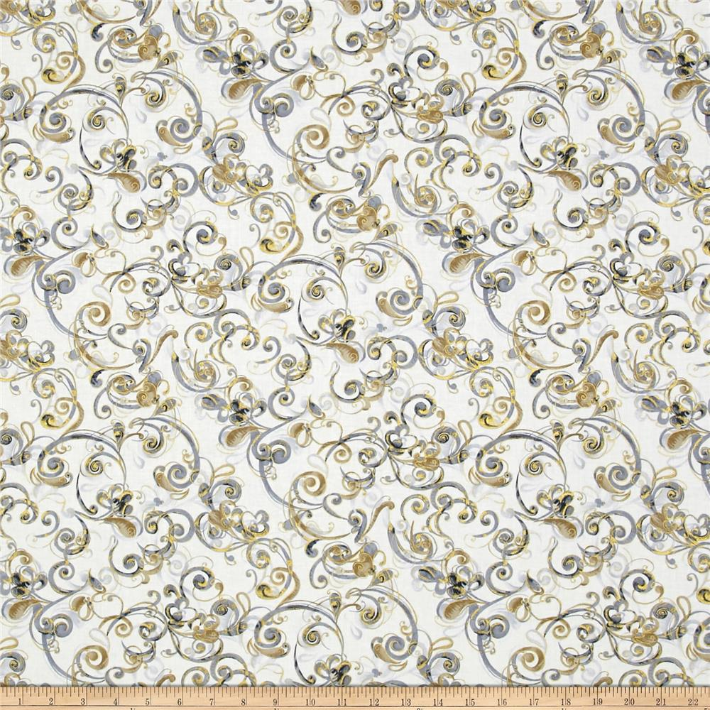 Timeless Treasures Metallic Zephyr Swirly Scroll Cream