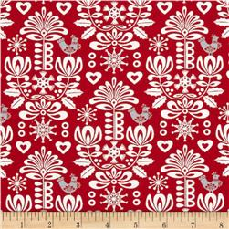 Moda Folk Art Holiday Damask Poppy