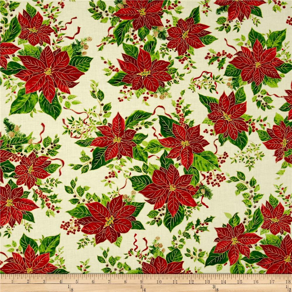 A Happy Christmas Pointsettia Ribbon Ecru Fabric