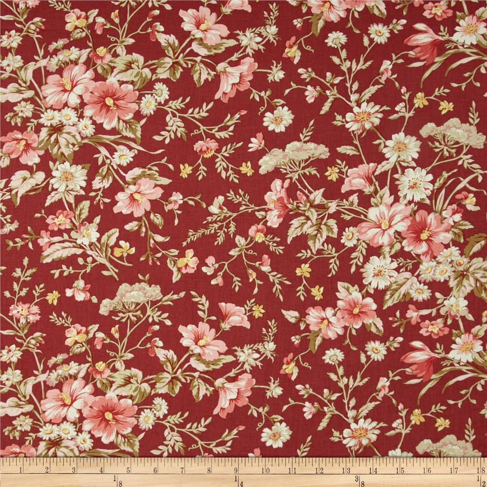Treasures By Shabby Chic Vintage Rose Large Floral Dark Red
