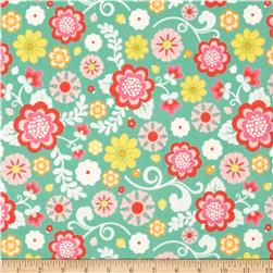 Riley Blake Fancy Free Flannel Large Floral Teal