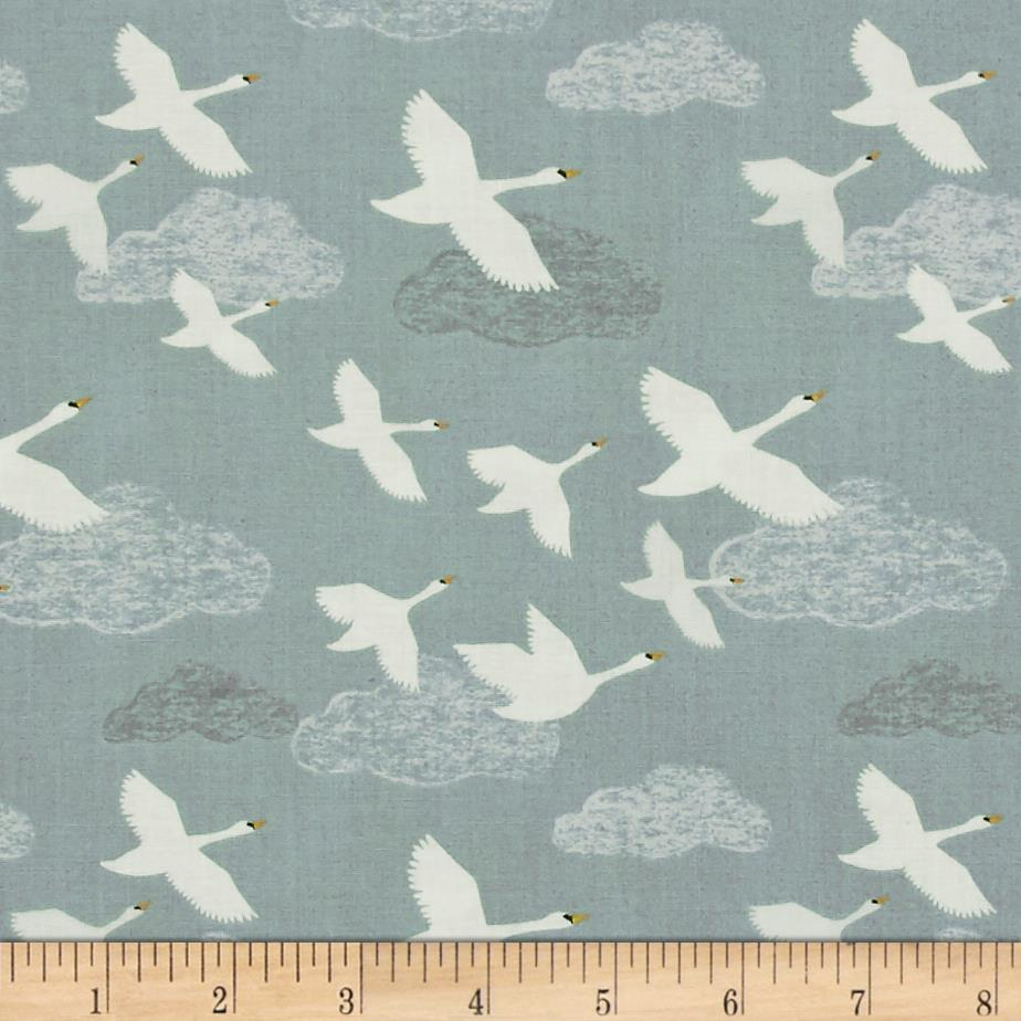 Lewis & Irene Down By The River Swans In Flight Pale Grey/Blue