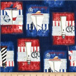 Maritime Patchwork Nautical Collage Navy