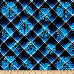 Winter Wonderland Flannel Plaid Snowflake Midnight