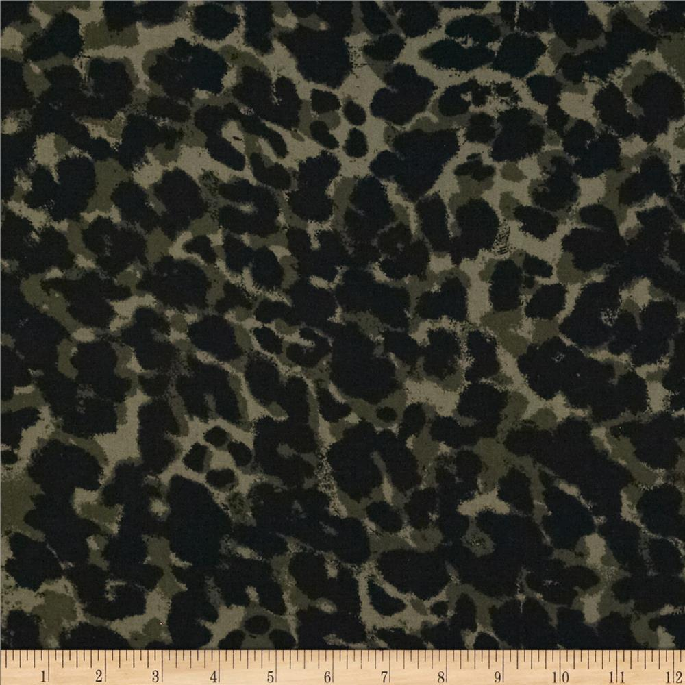 Rayon Voile Leopard Olive/Black