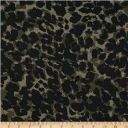 Rayon Voile Leopard Olive/Black Fabric