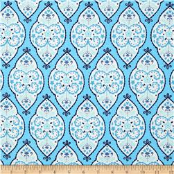 Dena Designs Sunshine Linen Blend Medallion Aqua Fabric