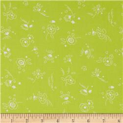 Timeless Treasures Doodle Mini Floral Toss Lime