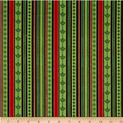 Christmas Carols Metallics Stripe Black