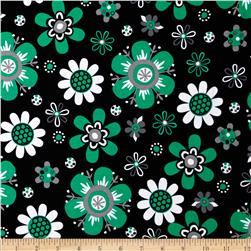 Kaufman Laguna Stretch Jersey Knit Flower Emerald Fabric