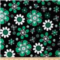 Laguna Stretch Cotton Jersey Flower Emerald