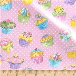 Pizzaz Flannel Glitter Cupcakes Pink
