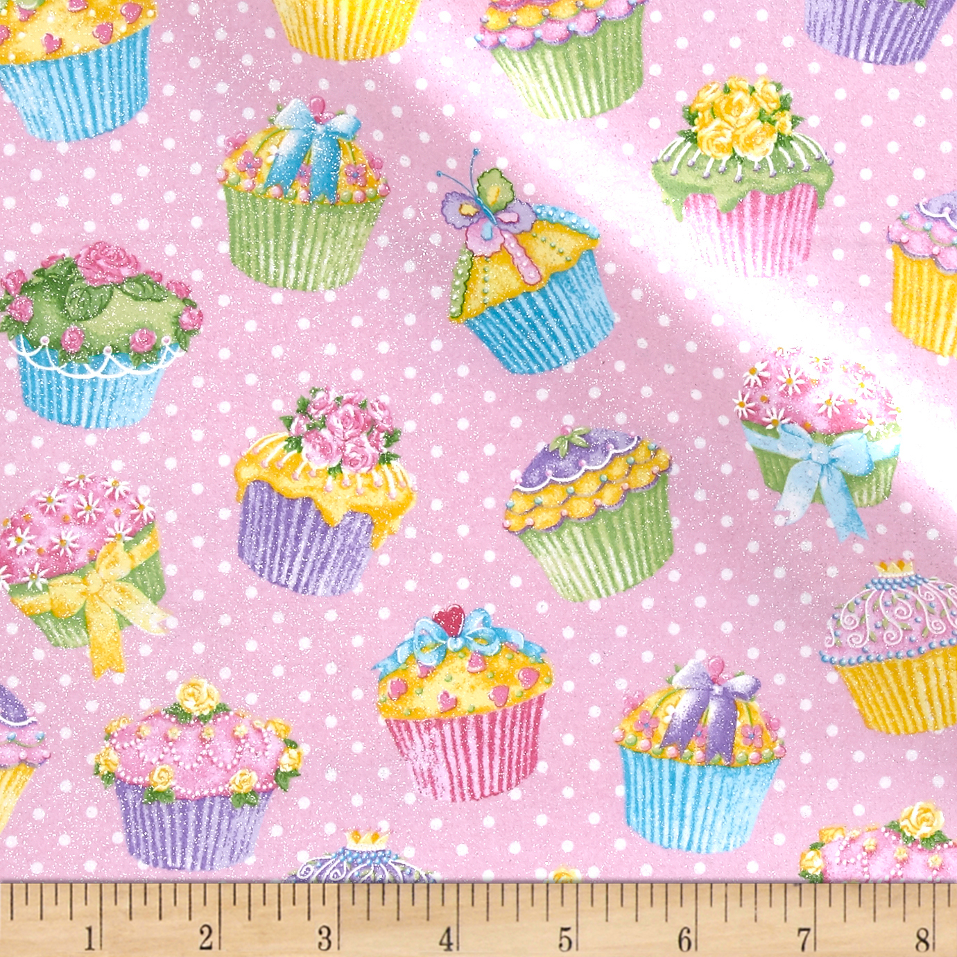 Pizzaz Flannel Glitter Cupcakes Pink Fabric by Fabric Traditions in USA