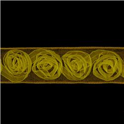 1 1/2'' Organza Rosette Ribbon Yellow