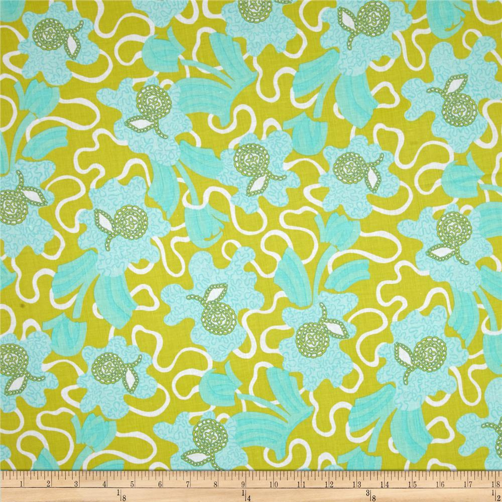 Zandra Rhodes Flower Garden Voile Flowers and Clouds Teal