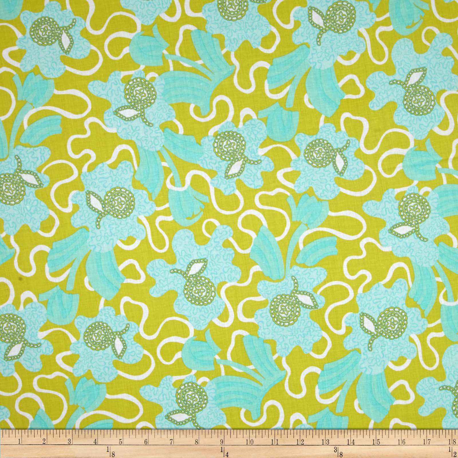 Zandra Rhodes Flower Garden Voile Flowers and Clouds Teal Fabric by Westminster in USA
