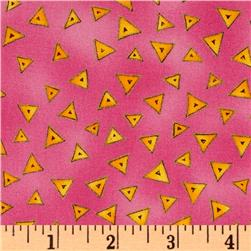 Laurel Burch Basics Triangle Fuchsia Fabric