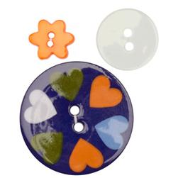 Fashion Buttons 1/2'', 3/4'', 1 3/8'' Coordinates Dutch Hearts Blue/Orange