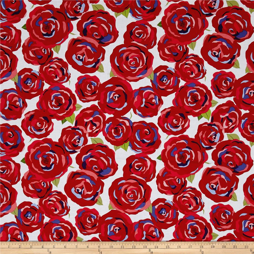 Penny Rose Coming up Roses Main Red Fabric