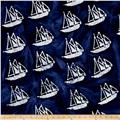 Indian Batik Ocean Grove Sail Boat Navy/White