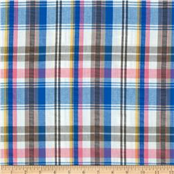 Kaufman Cape Cod Seersucker Plaid Blue/Pink Fabric