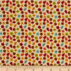 Riley Blake Happy Harvest Flannel Acorns Cream Fabric