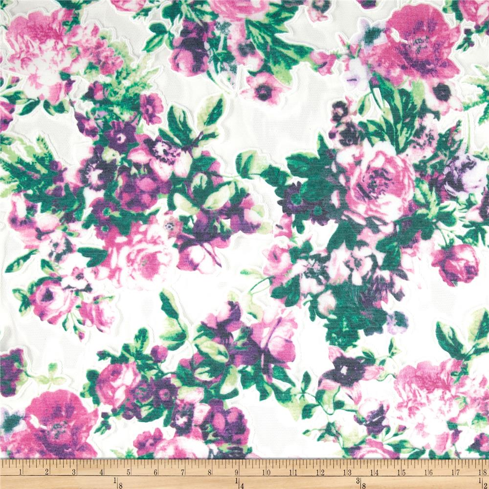 Stretch Floral Lace Pink/Green