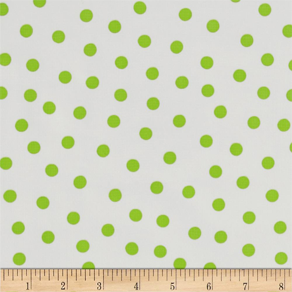 Oil Cloth Polka Dot White/Lime Green