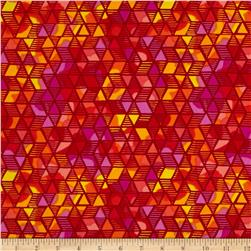 Timeless Treasures Color Crust Diamond Geo Red Fabric