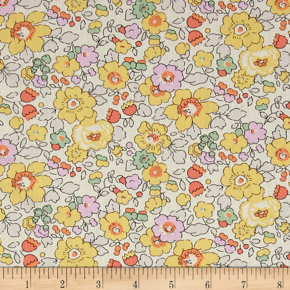 Liberty of London Classic Tana Lawn Betsy Yellow Fabric by Liberty Of London in USA