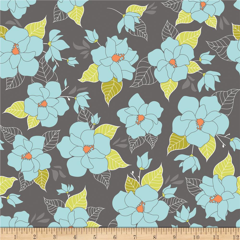 Riley Blake Lula Magnolia Large Floral Grey