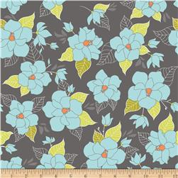 Riley Blake Lula Magnolia Large Floral Grey Fabric