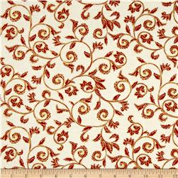 Noel Metallic Scroll Cream/Red